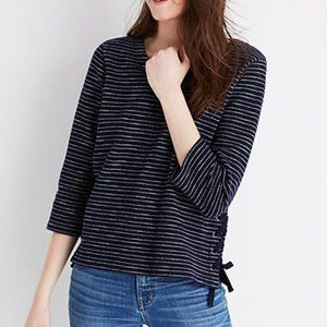 MADEWELL Striped Side Lace Up Sweater